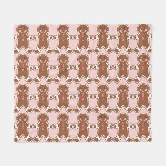 Pink Gingerbread Boys Fleece Blanket