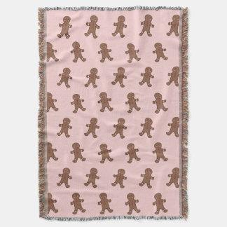 Pink Gingerbread Boys Throw Blanket
