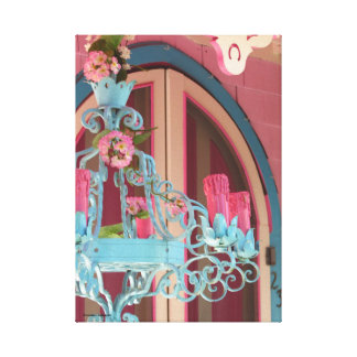 Pink Gingerbread Cottage Door and Candelabra Canvas Print