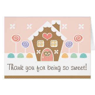 PINK GINGERBREAD HOUSE  BABY SHOWER THANK YOU CARDS