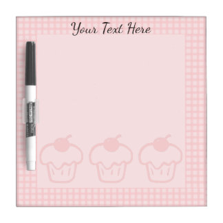 Pink Gingham and Cupcakes Dry Erase Board