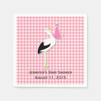 Pink Gingham and Stork Baby Shower Paper Napkins