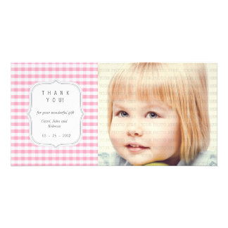 Pink Gingham - Any Occasion Thank you Photo Cards