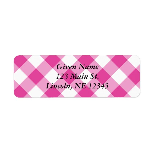Pink Gingham Avery Label Return Address Label