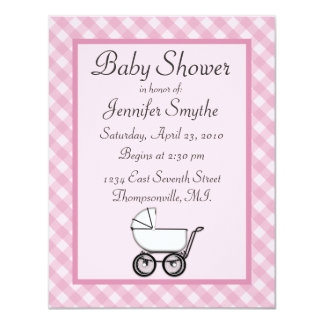 "Pink Gingham Baby Shower Invitations 4.25"" X 5.5"" Invitation Card"
