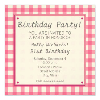 Pink Gingham Birthday Party Invitation