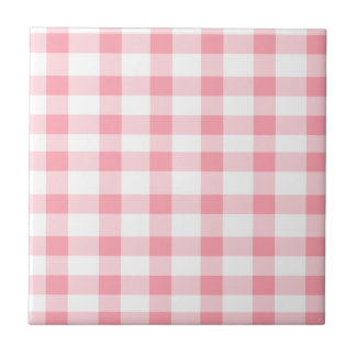 Pink Gingham Ceramic Tile