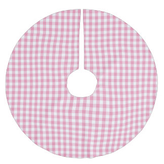 Pink Gingham Check Pattern Brushed Polyester Tree Skirt