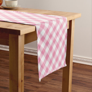 Pink Gingham Check Pattern Short Table Runner