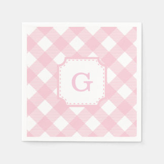 Pink Gingham Checkered Pattern Paper Napkin