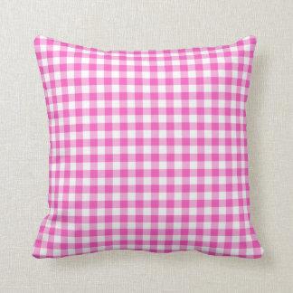 Pink Gingham Checks Pattern Cushion