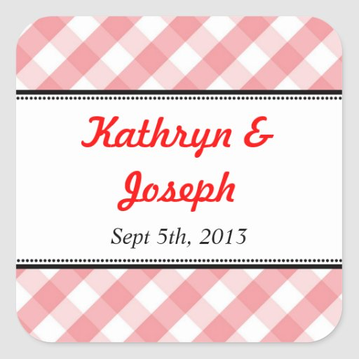 Pink gingham country picnic rustic wedding favor sticker