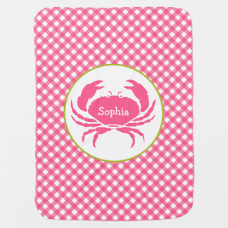Pink Gingham + Crab Personalized Baby Blanket