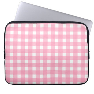 Pink Gingham Electronics Bag Computer Sleeve
