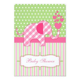Pink Gingham Elephant Baby Shower Invitation