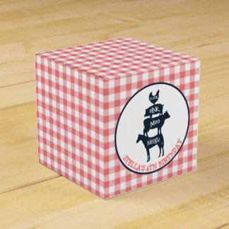 Pink Gingham Farm Theme Animal Girl Birthday Wedding Favour Box