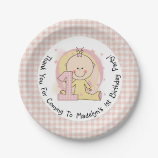 Pink Gingham Girl 1st Birthday Paper Plates