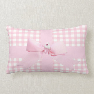 Pink Gingham Lumbar Cushion