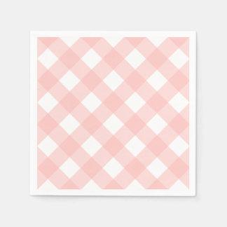 Pink Gingham Napkins Disposable Serviette