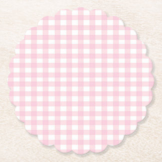Pink Gingham Paper Coaster