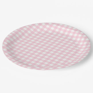 Pink Gingham Paper Plate