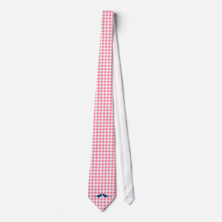 Pink Gingham Pattern Blue Love Birds Grooms Ties