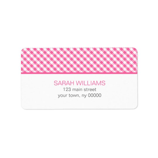 Pink Gingham Pattern Label