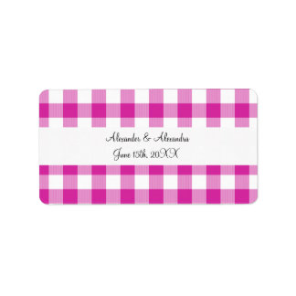 Pink gingham pattern wedding favors address label