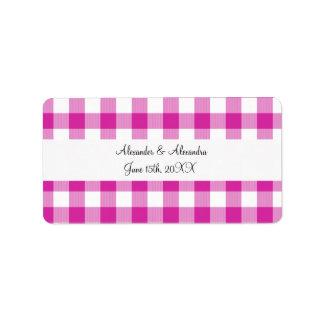 Pink gingham pattern wedding favors address label