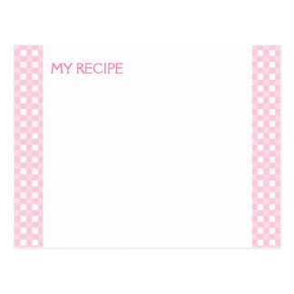 Pink Gingham Recipe Cards Postcard