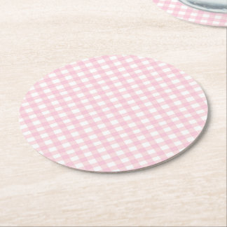 Pink Gingham Round Paper Coaster