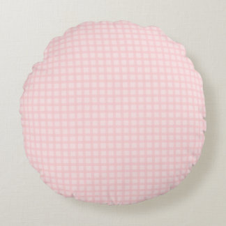 Pink Gingham Round Pillow