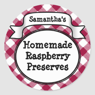Pink Gingham Strawberry Jelly Jam Jar/Lid Label