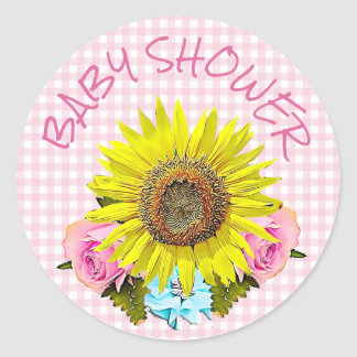 Pink Gingham Sunflower BABY SHOWER  Stickers
