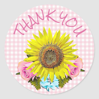 Pink Gingham Sunflower Thank You Stickers