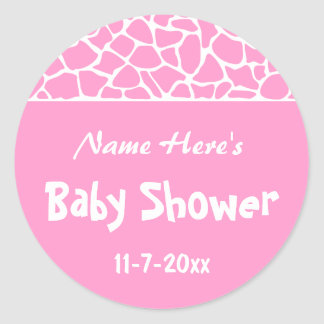 Pink Giraffe Baby Shower Sticker