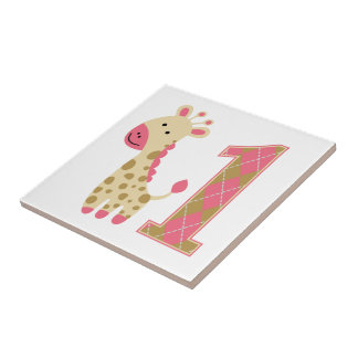 Pink Giraffe First Birthday Tiles