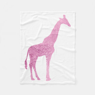 Pink Giraffe Fleece Blanket