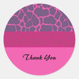 Pink Giraffe Fur Pattern Thank You Stickers