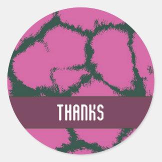 Pink Giraffe Fur Pattern Thank You Sticker