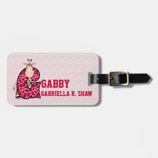 "Pink Giraffe Monogrammed ""G"" Kids Luggage Tags"