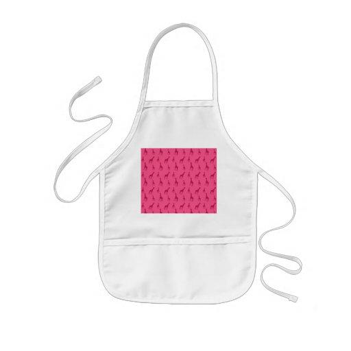 Pink giraffe pattern aprons