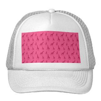 Pink giraffe pattern trucker hat