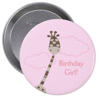 Pink Giraffe Personalized Birthday Button