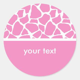 Pink Giraffe Print Custom Stickers