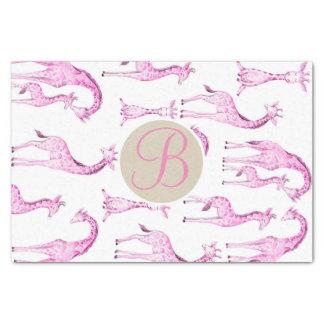 Pink Giraffes Baby Shower Monogram Letter Initial Tissue Paper