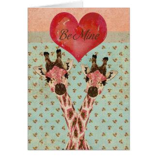 Pink Giraffes  Be Mine  Card