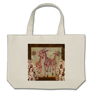 Pink Giraffes Cherry Blossom Bag