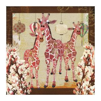 Pink Giraffes Cherry Jubilee Canvas Canvas Print
