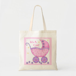 Pink Girl Baby Buggy Carriage Customized Tote Bag